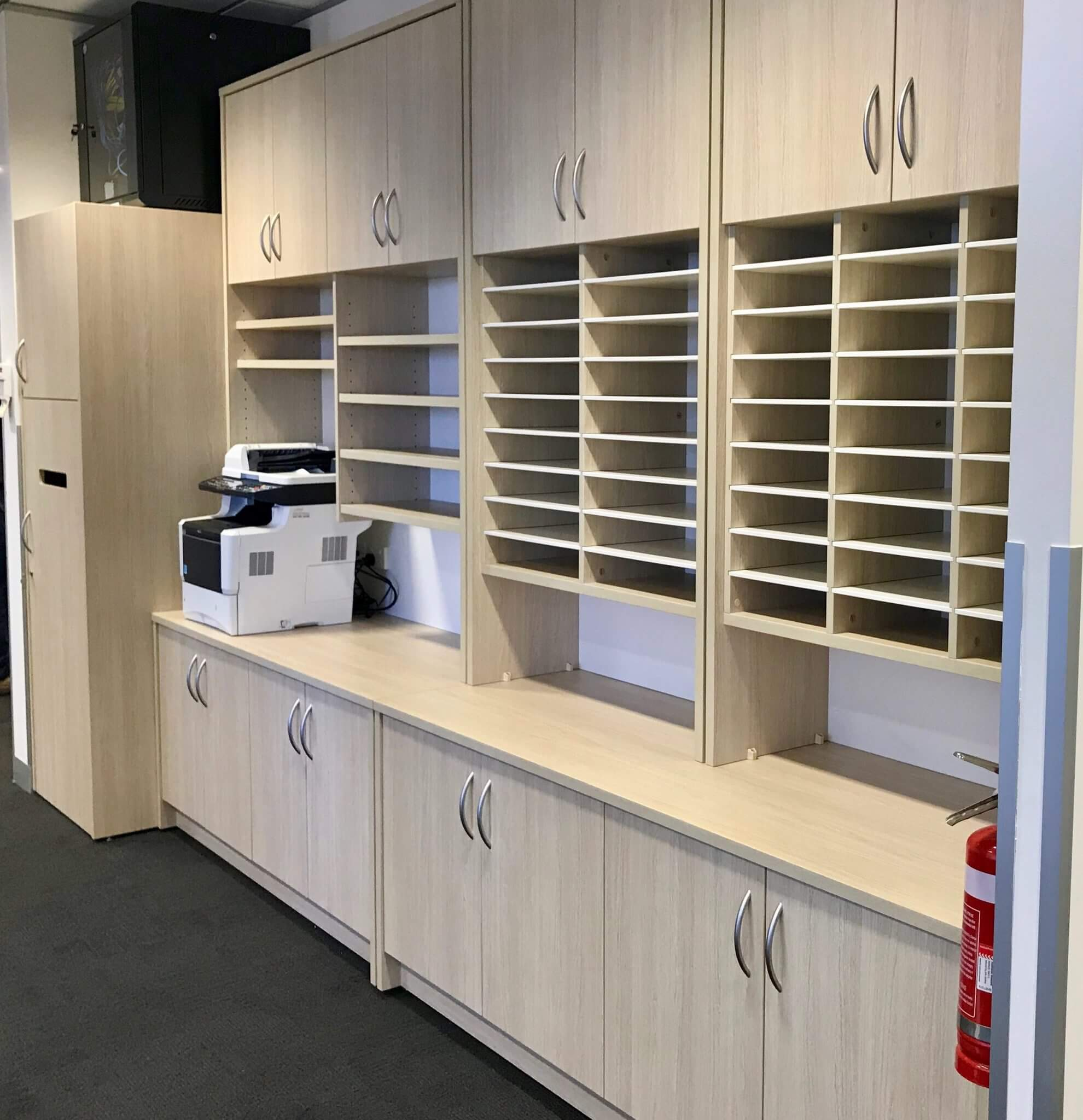 medical fitout with credenza and hutches in reception area for patient records