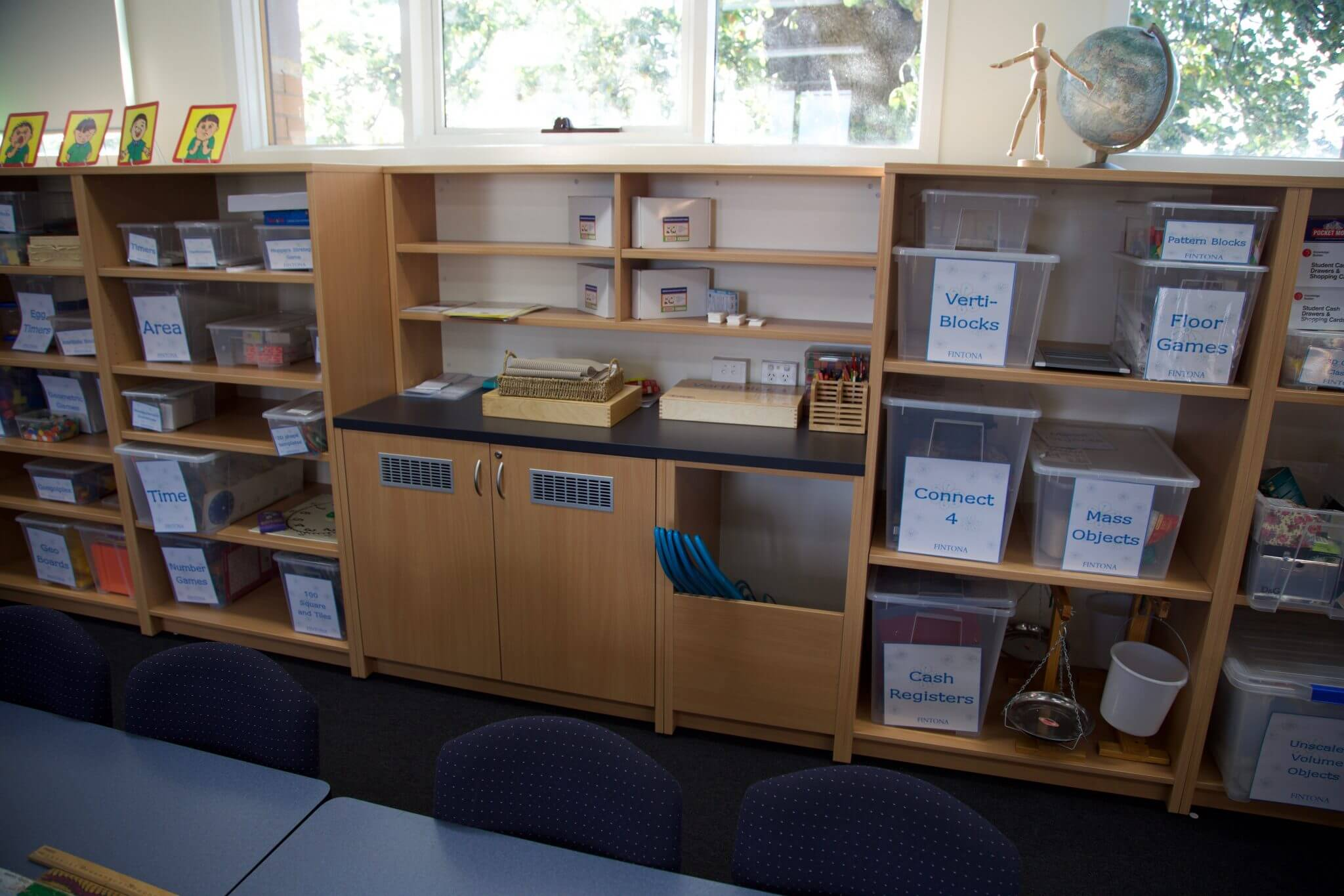 STEM school classroom fitout with cabinetry storing labelled tubs with teaching materials