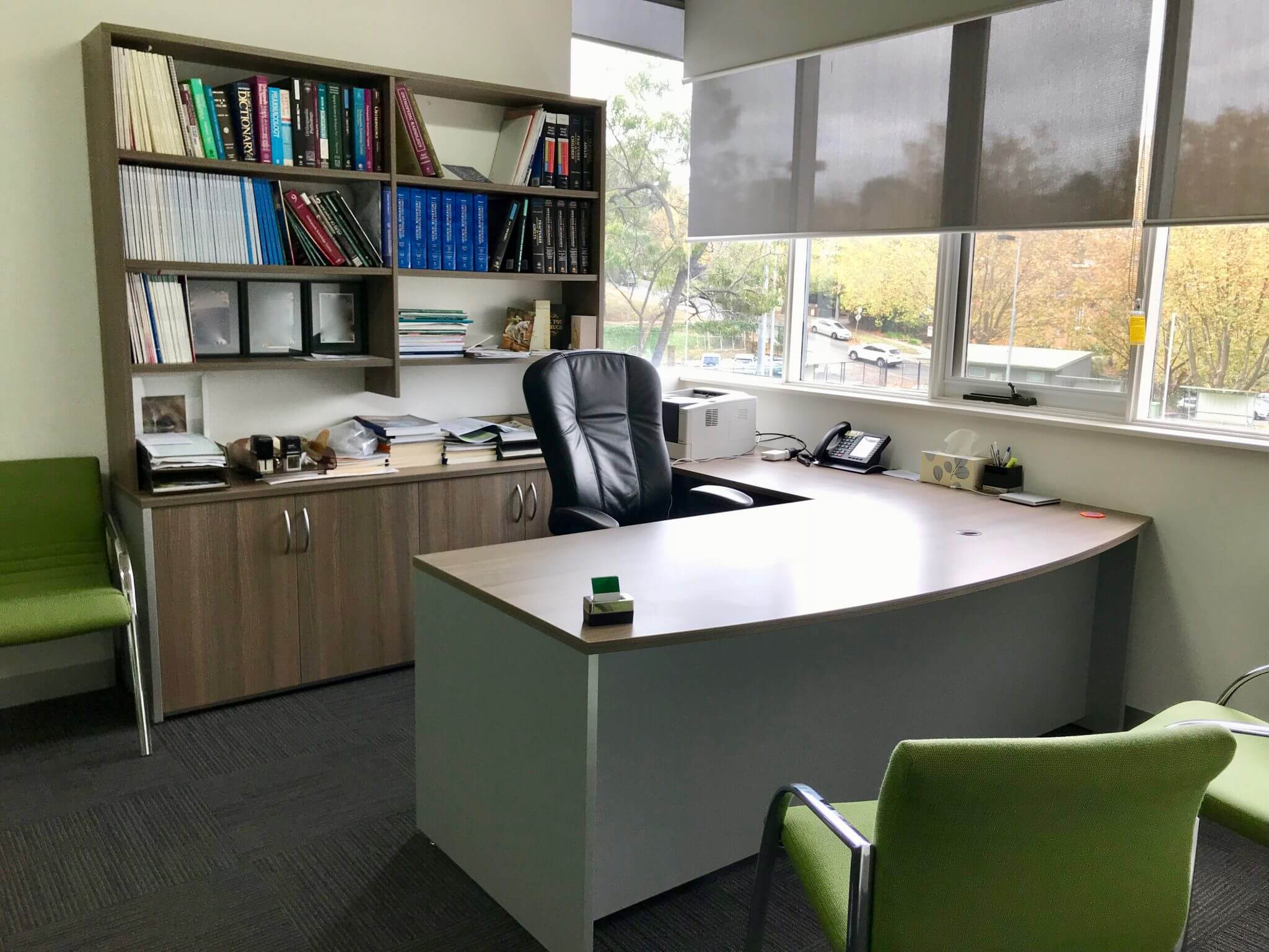 Medical Consulting Room - Desk, Credenza & Hutch