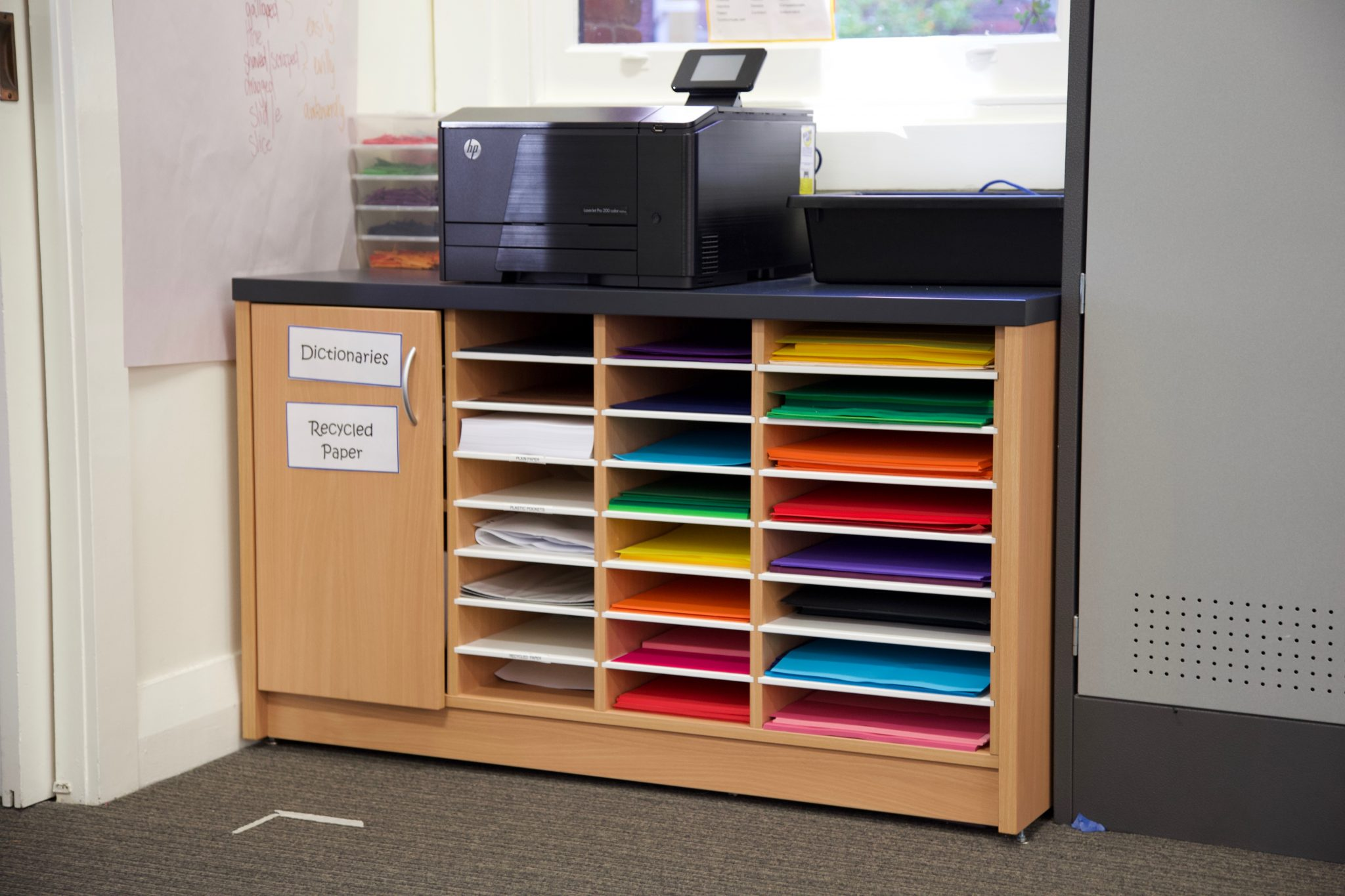 Custom school classroom storage