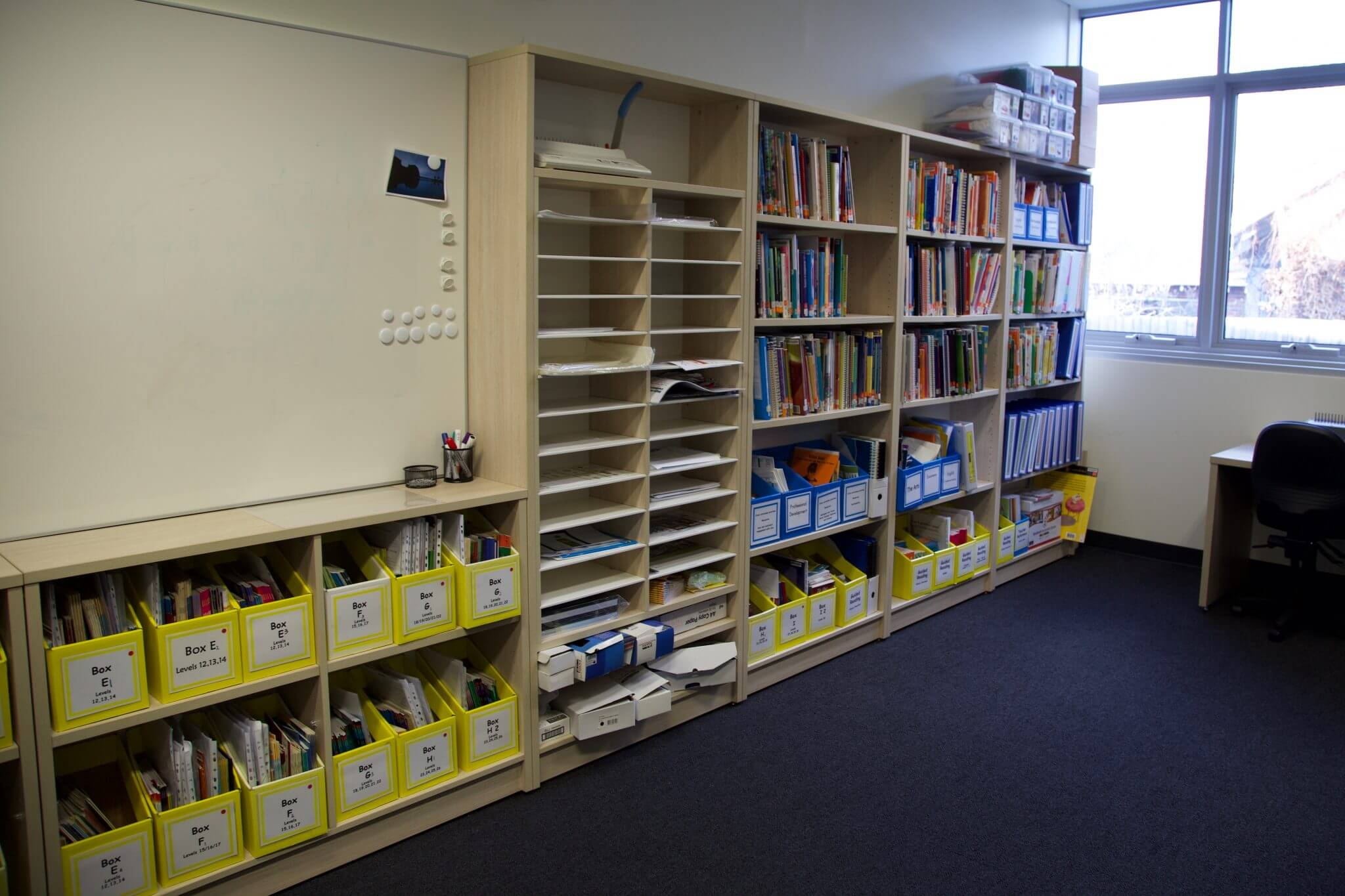 School classroom with bookcase storage
